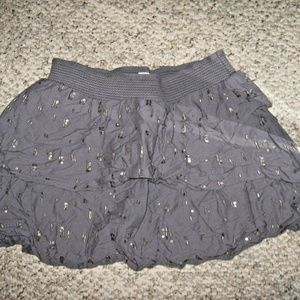Gray Tier Ruffle Bead Sequin Cute Club Skirt S